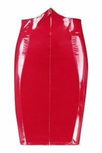Womens Deep Waistband Vinyl Mini Skirt - red - 12, Red