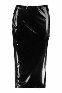 Womens Thigh Split Vinyl Midi Skirt - black - 16, Black