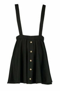 Womens Button Front Pinafore Skirt - black - 16, Black