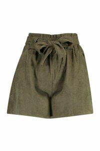 Womens Paperbag Waist Baby Cord Shorts - green - M, Green