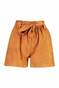 Womens Paperbag Waist Baby Cord Shorts - brown - M, Brown