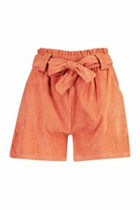 Womens Paperbag Waist Baby Cord Shorts - Orange - M, Orange