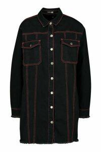 Womens Contrast Stitch Denim Shirt Dress - black - 16, Black