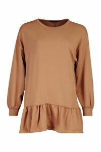 Womens Drop Hem Long Sleeve Sweatshirt Dress - beige - 16, Beige