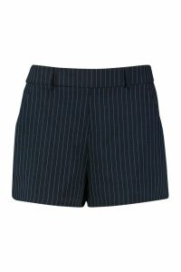 Womens Pinstripe Woven Self Belt Short - navy - 16, Navy