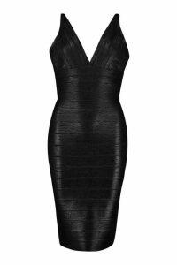 Womens Boutique Plunge Wet Look Bandage Midi Dress - black - 10, Black