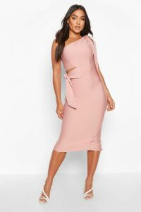 Womens Boutique One Shoulder Tie Cut Out Bandage Midi Dress - pink - 12, Pink