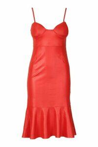 Womens PU Cupped Frill Hem Midi Dress - red - 16, Red