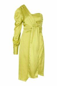 Womens Satin One Shoulder Twist Front Midi Dress - yellow - 14, Yellow