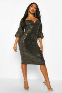 Womens Sparkle Puff Sleeve Midi Dress - metallics - 14, Metallics