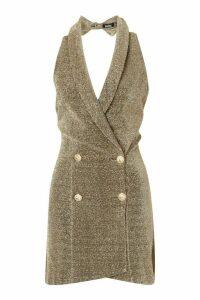 Womens Sparkle Halterneck Blazer Dress - metallics - 16, Metallics
