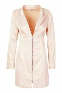 Womens Satin Corset Detail Blazer Dress - pink - 16, Pink
