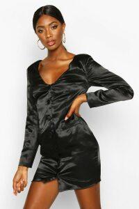 Womens Satin Off The Shoulder Button Detail Blazer Dress - black - 16, Black