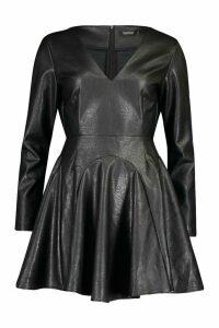 Womens PU Godet Plunge Power Shoulder Skater Dress - black - 14, Black