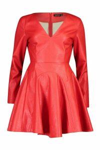 Womens PU Godet Plunge Power Shoulder Skater Dress - red - 16, Red