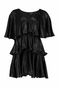 Womens Plunge Tierred Metallic Skater Dress - black - 16, Black