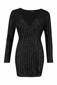 Womens Sparkle Wrap Mini Dress - black - 12, Black