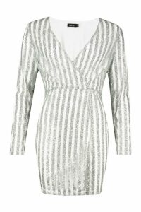 Womens Sparkle Wrap Mini Dress - grey - 6, Grey
