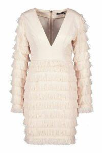 Womens Fringe Plunge Sleeve Mini Dress - Pink - 10, Pink