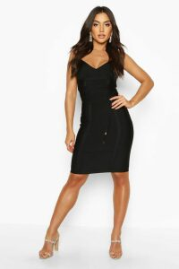 Womens Boutique Bandage Tie Detail Mini Dress - black - 14, Black
