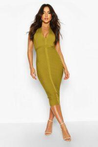 Womens Boutique Bandage Plunge Midi Dress - yellow - 14, Yellow