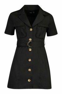 Womens Woven Utility Pocket Blazer Dress - black - 16, Black