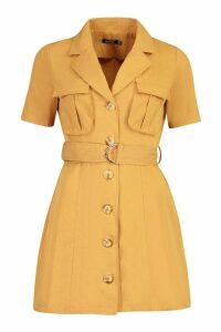 Womens Woven Utility Pocket Blazer Dress - orange - 16, Orange