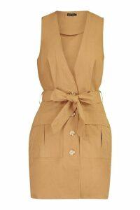 Womens Woven Plunge Double Pocket Utility Blazer Dress - beige - 14, Beige