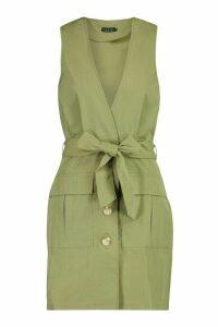 Womens Woven Plunge Double Pocket Utility Blazer Dress - green - 14, Green