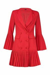 Womens Pleated Hem & Sleeve Blazer Dress - red - 14, Red