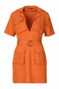 Womens Woven Double Pocket Belted Utility Dress - orange - 14, Orange
