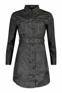 Womens Woven Contrast Stitch Belted Shirt Dress - black - 16, Black