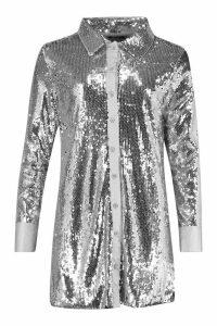 Womens Full Sequin Satin Trim Oversized Shirt Dress - grey - 14, Grey