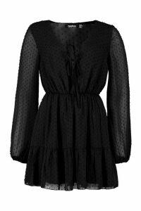 Womens Woven Dobby Mesh Tie Detail Skater Dress - black - 14, Black