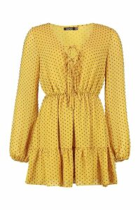 Womens Woven Dobby Mesh Tie Detail Skater Dress - yellow - 8, Yellow