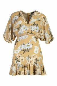 Womens Woven Floral Ruffle Mini Dress - beige - 14, Beige