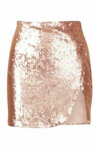 Womens Sequin Split Front Mini Skirt - beige - 14, Beige