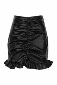 Womens PU Ruched Mini Skirt - black - 14, Black