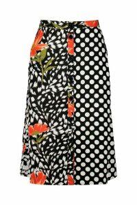 Womens Mixed Print Midi Skirt - black - 16, Black