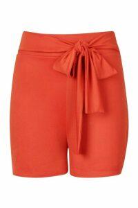 Womens Wide Belt Detail High Waist Short - orange - 16, Orange