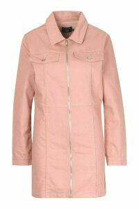 Womens Zip Through Denim Bodycon Dress - pink - 12, Pink