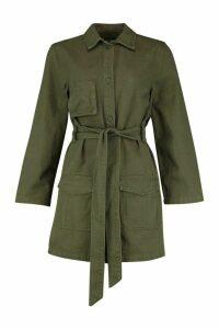 Womens Belted Utility Button Denim Dress - green - 12, Green