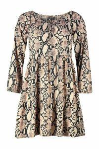 Womens Snake Print Tie Front Smock Dress - beige - 16, Beige