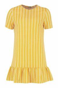Womens Stripe Drop Hem Shift Dress - yellow - 8, Yellow