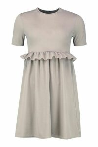 Womens Ruffle Front Smock Dress - grey - 16, Grey