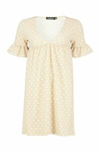 Womens Polka Dot Ruffle Sleeve Smock Dress - beige - 12, Beige