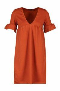 Womens Ruffle V Neck Smock Dress - orange - 16, Orange