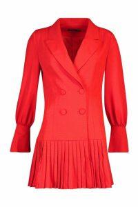 Womens Pleated Hem Blazer Dress - red - 14, Red