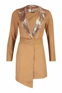 Womens Self Belt Sequin Collar Blazer Dress - metallics - 8, Metallics