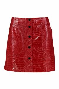Womens Mock Croc Pocket Detail Leather Look Mini Skirt - red - 16, Red